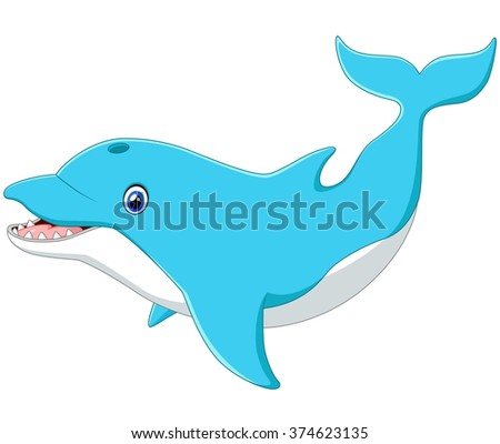 Cute cartoon dolphin - stock vector