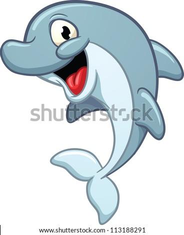 Dolphin cartoon black and white