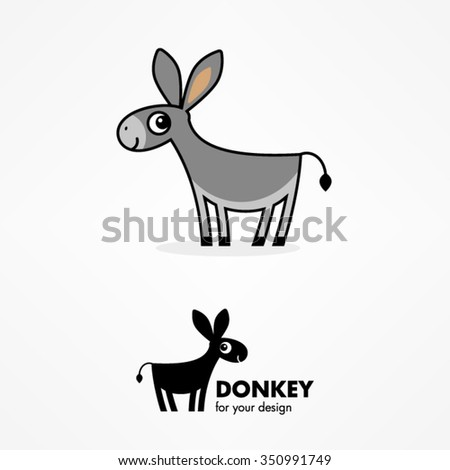 Cute cartoon donkey