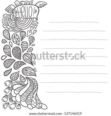 Cute cartoon doodle background - stock vector