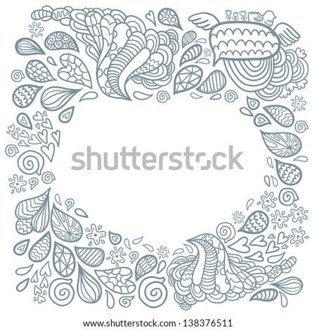 cute cartoon doodle frame doodle background stock vector 138376511