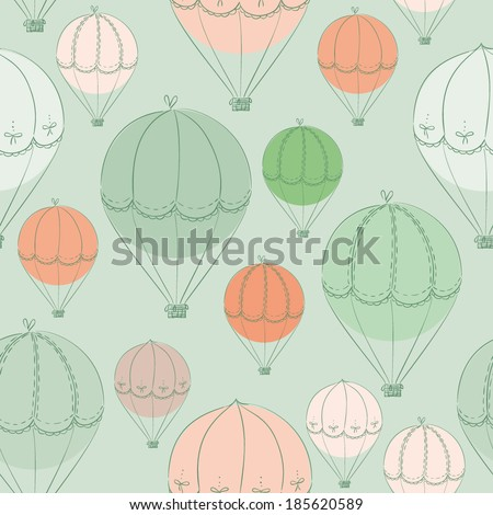 cute cartoon doodle hand drawn air balloons seamless pattern