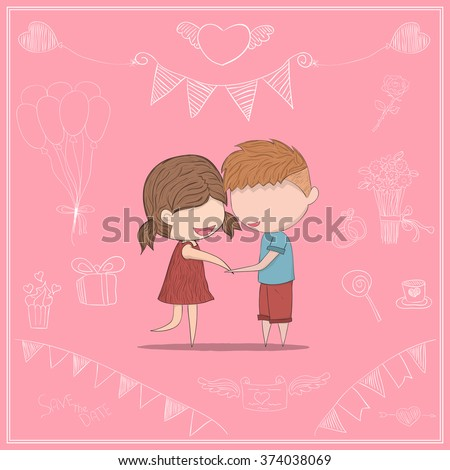 Cute cartoon doodle lovers a boy and a girl clasp. cute Valentine's Day card, drawing by hand vector and digital illustration created without reference image.