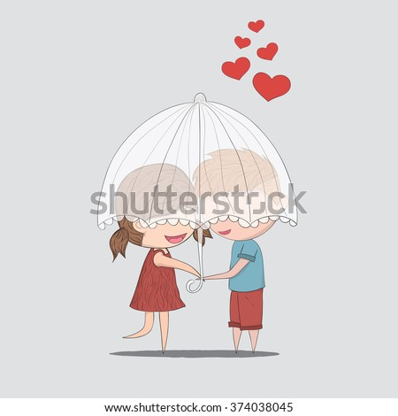 Cute cartoon doodle lovers a boy and a girl under umbrella.cute Valentine's Day card, drawing by hand vector and digital illustration created without reference image. - stock vector