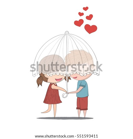 Cute cartoon doodle lovers a boy and a girl under umbrella.cute Valentine's Day card, drawing by hand vector