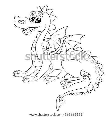 Cute cartoon dragon. Black and white vector illustration for coloring book