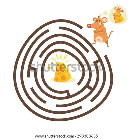 Cute cartoon education game for children. Help mouse to find right way from labyrinth to cheese. Visual puzzle,maze game for preschool education. Ready funny farm game design template. Vector - stock vector