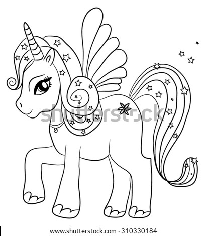 Cute Cartoon Fairytale Unicorn Coloring Page Stock Vector Winged Unicorn Coloring Pages