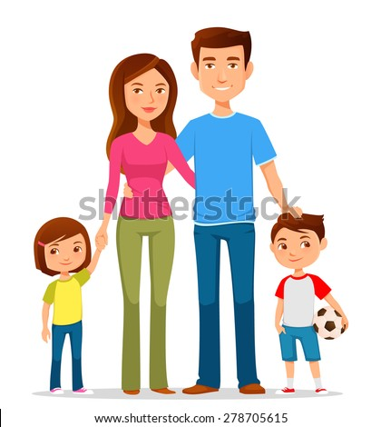 cute cartoon family in colorful clothes - stock vector