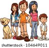 Cute cartoon family. Vector illustration with simple gradients. Each in a separate layer for easy editing. - stock vector