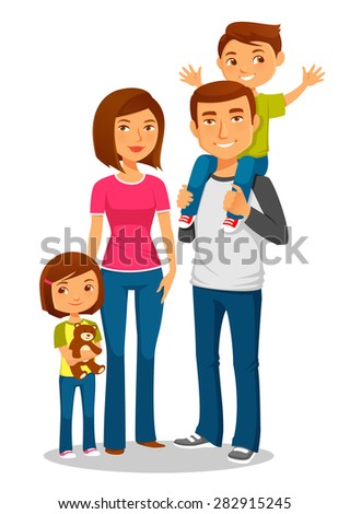 cute cartoon family with two kids - stock vector