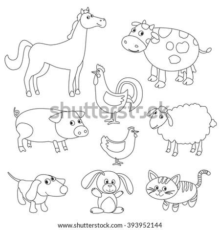 Cute Cartoon Farm Animals Birds Coloring Stock Vector 393952144 ...
