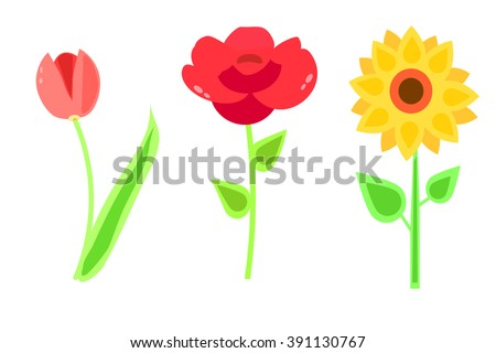 Cute Cartoon Flowers For Postcard Print Tulip Rose Sunflower Icon Vector