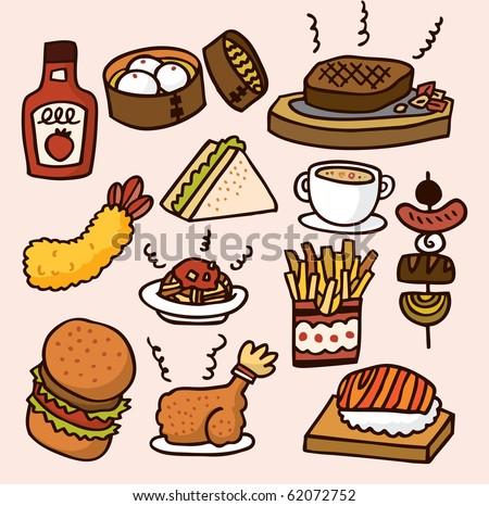 cute cartoon food - stock vector