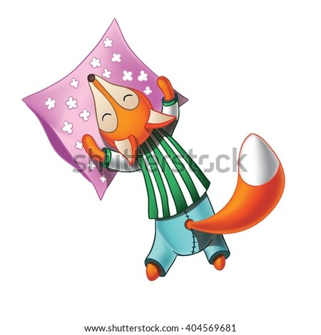 Cute cartoon fox in striped pajamas sleeping on the pillow. Isolated on white background