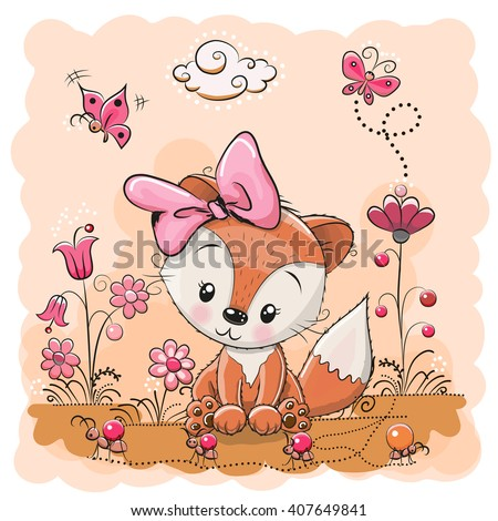 Cute Cartoon Fox on a meadow with flowers and butterflies