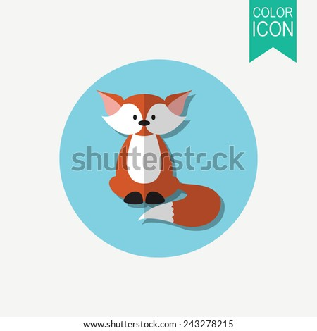 Cute cartoon fox vector illustration. Flat design - stock vector