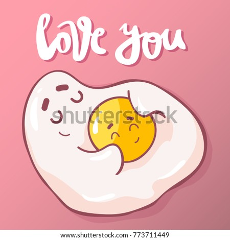 Cute bread butter illustration pun quote cute cartoon fried eggs with hand drawn lettering quote love youte unusual hand voltagebd Gallery
