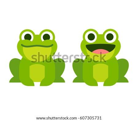 Cute Cartoon Frog Set Smiling Croaking Stock Photo Photo Vector