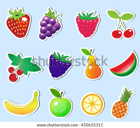 cute cartoon fruit sticker set, vector illustration