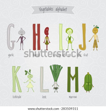 Cute cartoon funny vegetables alphabet in vector. G, h, i, j, k, l, m letters. Garlic, haricot, iceberg lettuce, jack fruit, kohlrabi, leek, marrow. Design in a colorful style. - stock vector