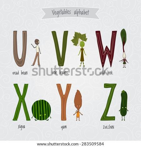Cute Cartoon Funny Ve ables Alphabet Vector Stock Vector