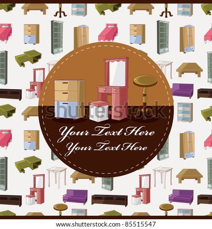 cute cartoon furniture card - stock vector
