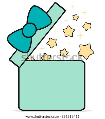 cute cartoon gift box open with stars vector illustration - stock vector