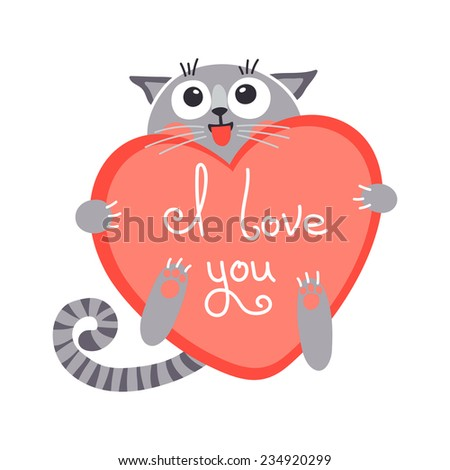 Cute cartoon ginger cat with heart and declaration of love. Vector illustration. - stock vector