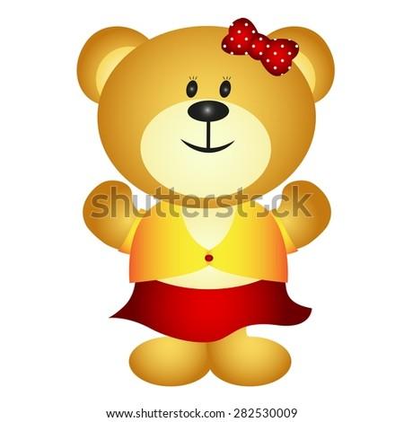 Cute Cartoon Girl Bear - stock vector