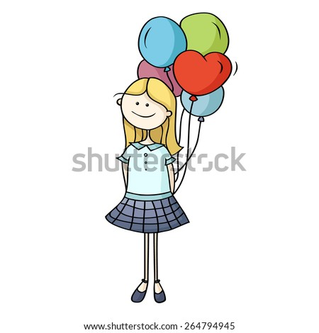Cute cartoon girl holding on to a group of balloons tied together behind the back. Hand-drawn vector illustration isolated on white. - stock vector