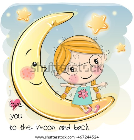 Cute Cartoon Girl Sitting On Moon Stock Vector 467244524