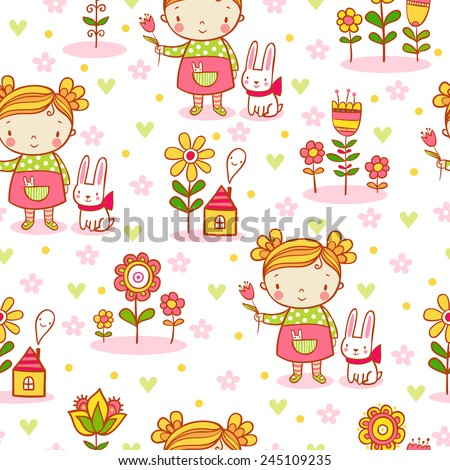 Cute cartoon girl seamless pattern with a girl, bunny, flowers. Vector background  in stylish colors can be used for wallpapers, surface textures,  pattern fills. - stock vector