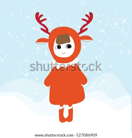 Cute cartoon girl wearing antlers at Christmas. ,draw vector illustration winter design.
