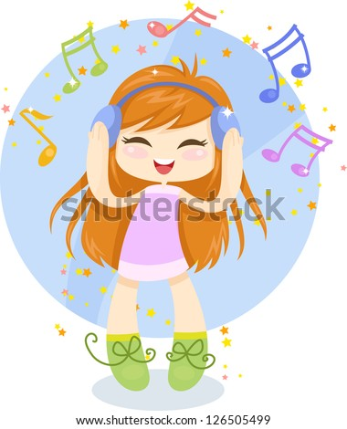 Cute cartoon girl with headphones is listening to music. Vector illustration - stock vector
