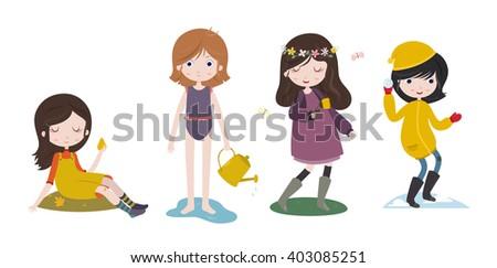 Cute cartoon girls and the four seasons. - stock vector