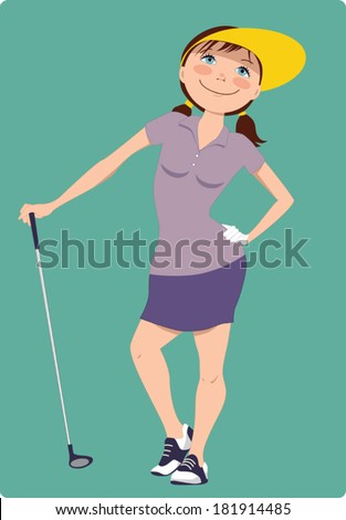 Cute cartoon golfer girl standing with a golf club, vector illustration - stock vector