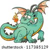 Cute cartoon green dragon. Vector clip art illustration with simple gradients. All in a single layer. - stock vector