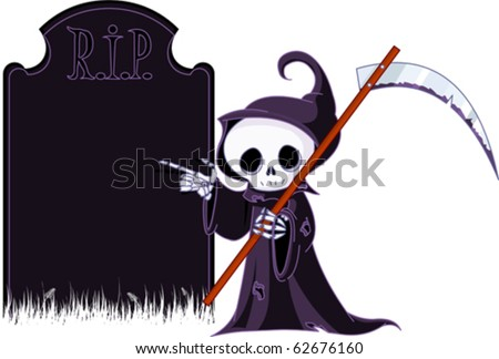Cute cartoon grim reaper with scythe  pointing to tombstone. Isolated on white - stock vector