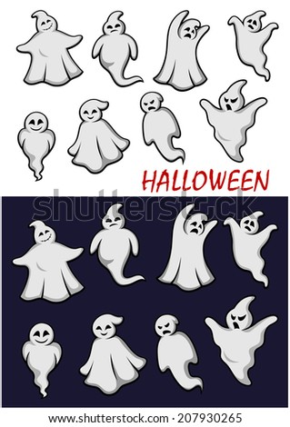 Cute cartoon  Halloween ghosts in flowing white robes in scary poses with different expressions in two color variants on white and a dark background for holiday or logo design - stock vector