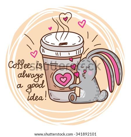 Cute cartoon hand drawn bunny loves coffee. Adorable vector clip art for your design - stock vector