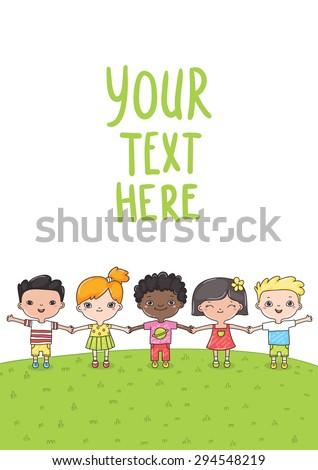 cute cartoon hand drawn mixed race children. Vector kids clip art. International friends day.