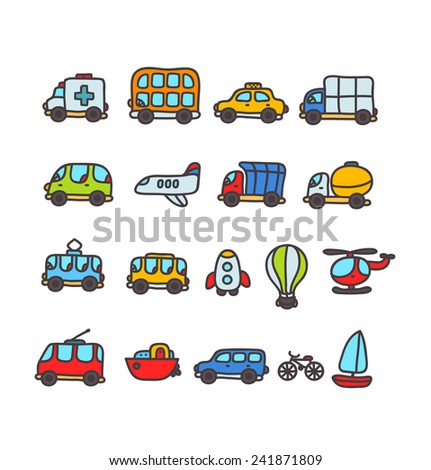 Cute cartoon hand drawn transport icon set with emergency, bus, yellow taxi, truck, airplane, tram, trolleybus, balloon, helicopter, boat, jeep, minivan, concrete mixer. - stock vector