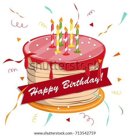 Cute Cartoon Happy Birthday Cake Candles Stock Vector 717098431