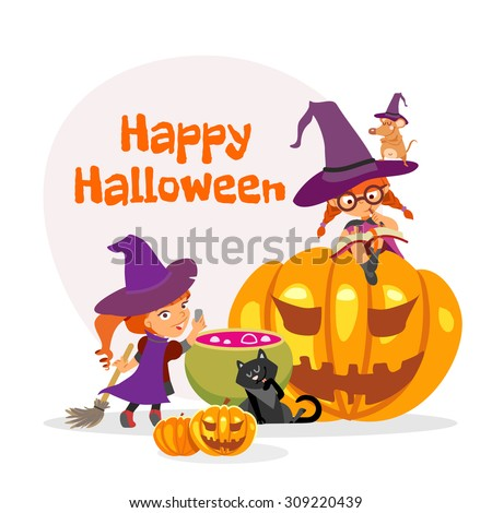 Cute cartoon happy halloween design template with two little girls in witch costumes in front of witch cauldron. Vector illustration