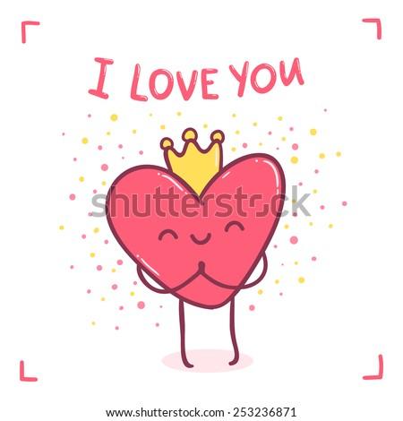 "cute cartoon heart character - "" i love you "" Happy Valentines day illustration - stock vector"