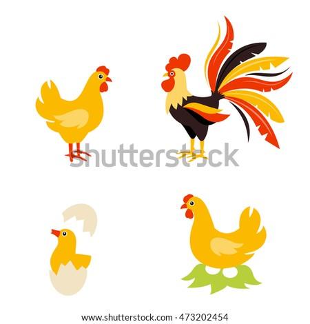 Cute cartoon hen rooster chicken baby 473202454 cute cartoon hen rooster and chicken baby cartoon chicken bird isolated on background chicken voltagebd Images