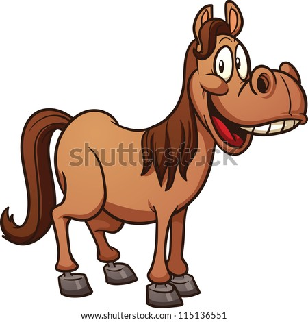 Cute cartoon horse. Clip art vector illustration with simple gradients. All in a single layer.