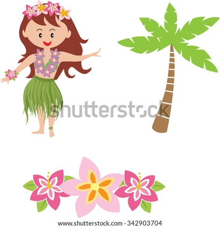cute cartoon hula girl cartoon hawaiian stock photo photo vector rh shutterstock com cartoon pictures of hawaiian flowers Plumeria Flower Cartoon