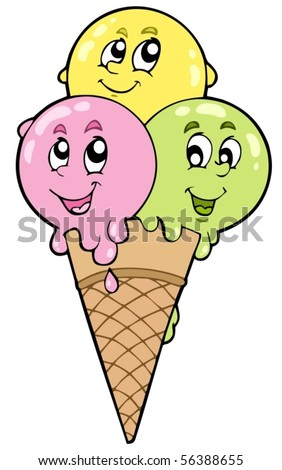 Cute cartoon ice cream - vector illustration. - stock vector